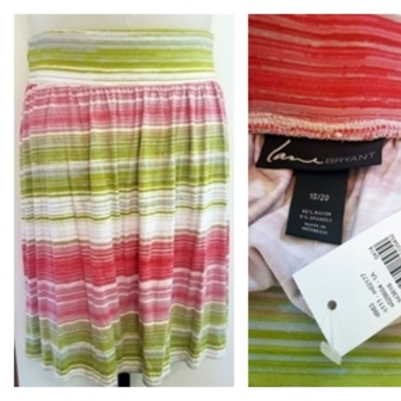 Lane Bryant Dresses & Skirts - Lane Bryant Vibrant Striped Skater Knit Skirt BNWT